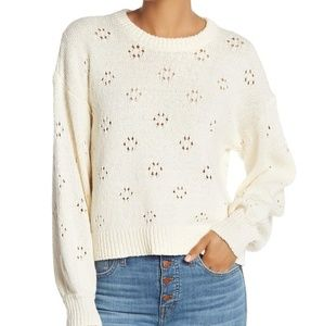 Madewell Ivory Floral Pointelle Pullover Sweater